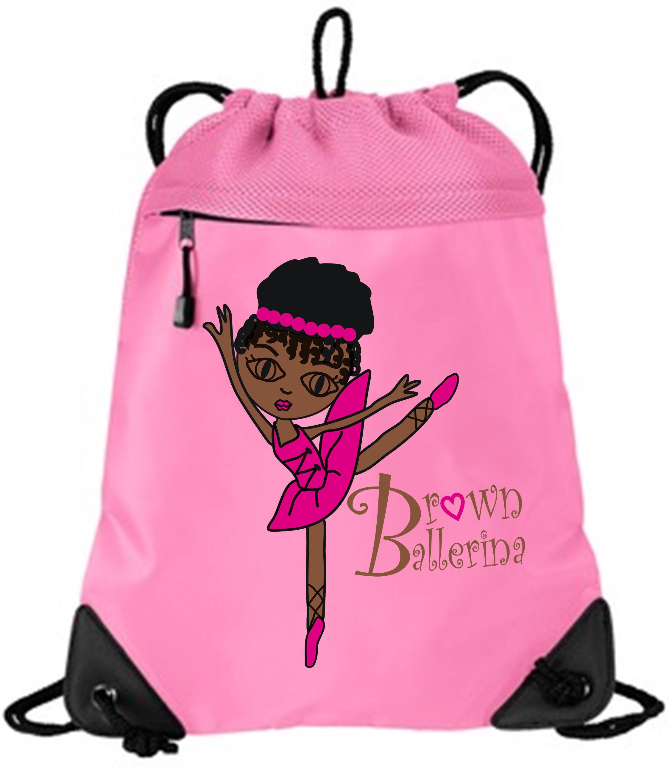 Brown Ballerina Pink Drawstring Bag